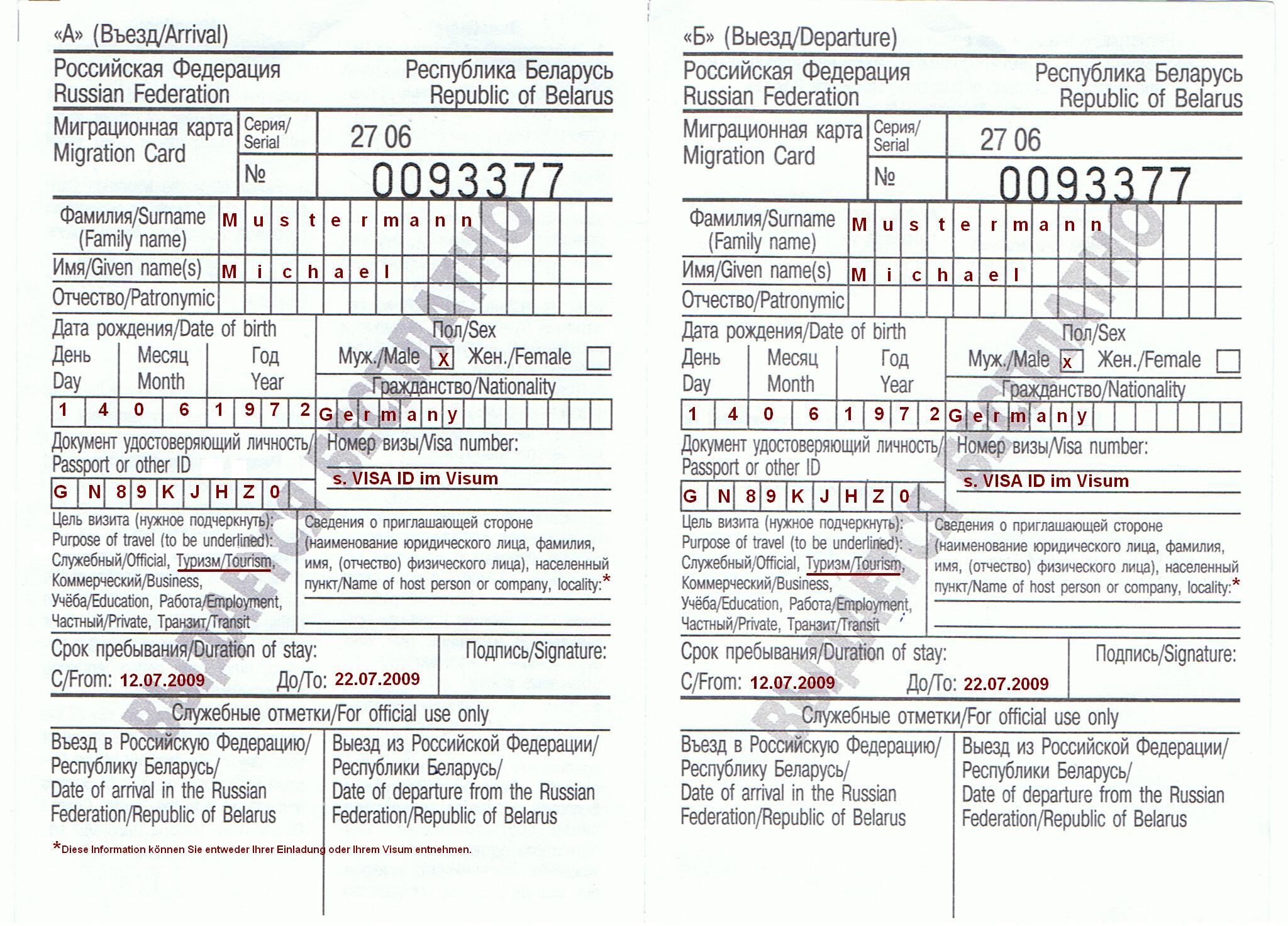 russland zollerklärung formular
